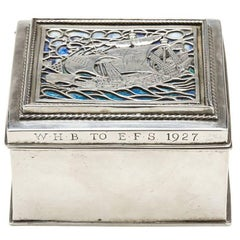 Omar Ramsden Arts & Crafts Silver and Enamel Box, 1926