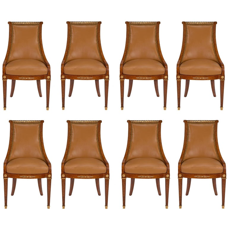 French, 19th Century Neoclassical Style Set of Eight Burl Walnut & Ormolu Chairs