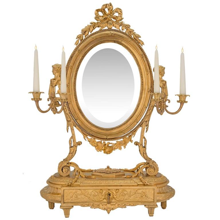 French 19th Century Louis XVI Style Ormolu Vanity Mirror by Susse Frères à Paris