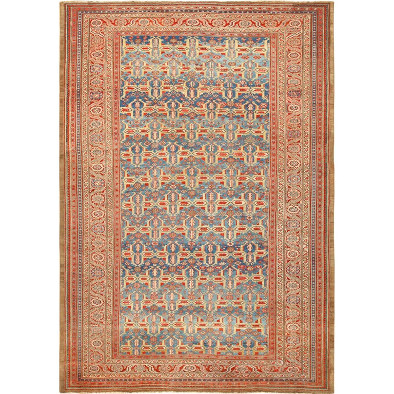 Large Blue Background Antique Bakshaish Persian Rug