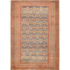 Large Blue Background Antique Bakshaish Persian Rug