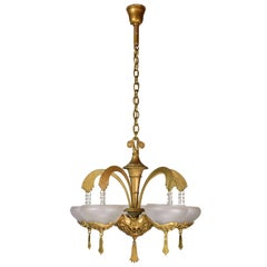 Art Deco Five Arm Brass Chandelier with Shades