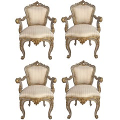 Italian Early 19th Century Louis XV Style Patinated and Mecca Armchairs