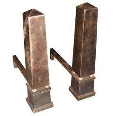 Two, 1940s Patinated Wrought Iron Andirons