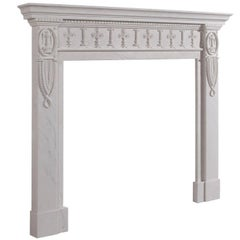 18th Century Georgian Style Hand-Carved White Statuary Marble Fireplace Mantle