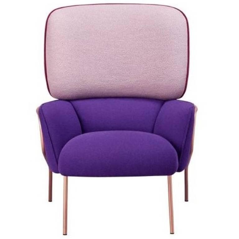 Cotton Armchair by Eli Gutierrez, Contemporary Armchair in Metallic Frame 1