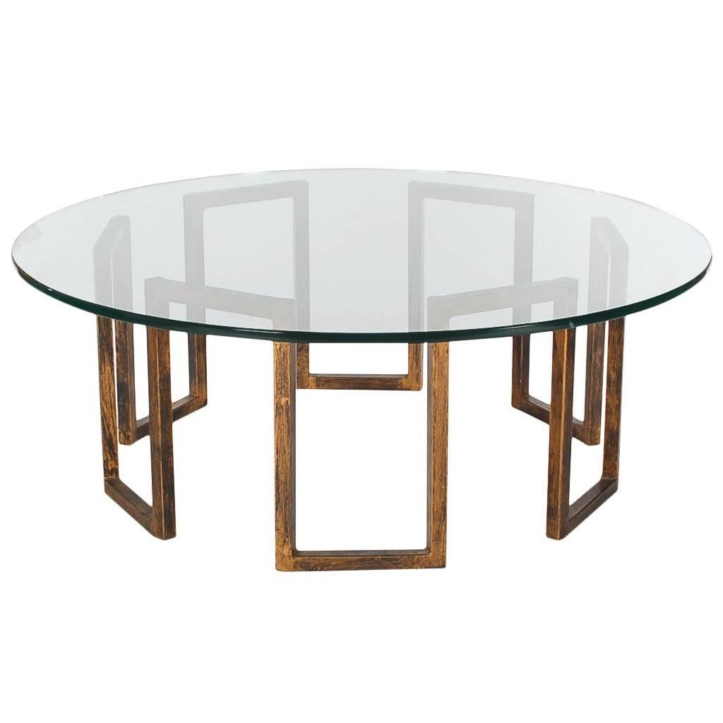 Mid-Century Italian Modern Faux Brass and Glass Cocktail Table After Mastercraft