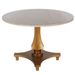 Hollywood Regency Gold Gilded Marble Dining or Center Table by Baker Furniture