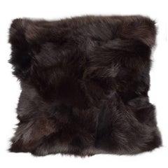 Luxurious Custom New Handmade Fox Fur Pillows in a Stunning Onyx Shade