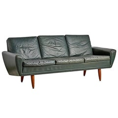 Three-Seat Sofa by Thams with Green Leather Upholstery, circa 1960s
