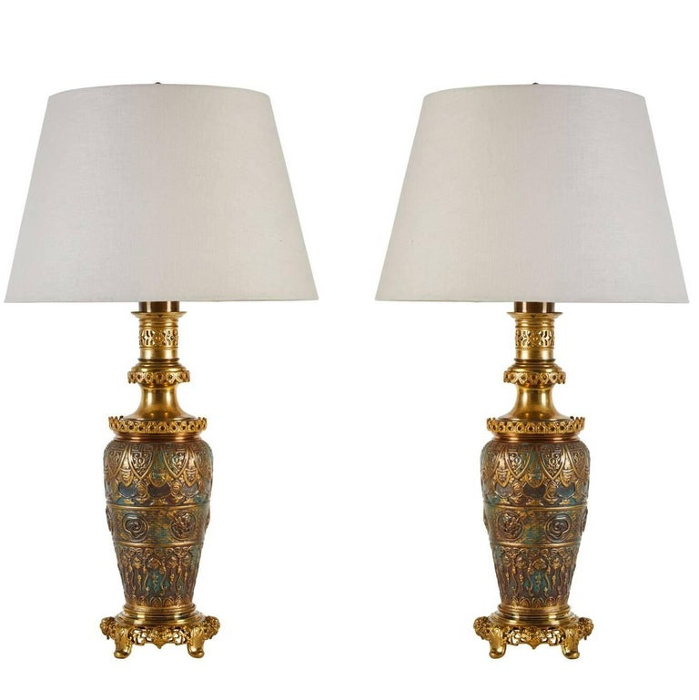 Remarkable 19th Century Asian Bronze Nature Themed Table Lamps For