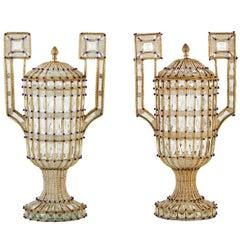 Glittering Pair of Mid-Century, Italian, Beaded Urns