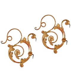 Rare and Elegant 18th Century Gilt Metal and Wood Brackets