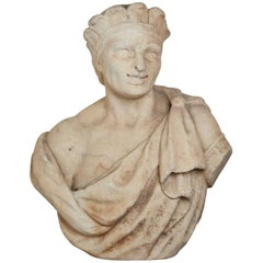 """18th Century, Solid Marble Bust of """"The Americas"""""""