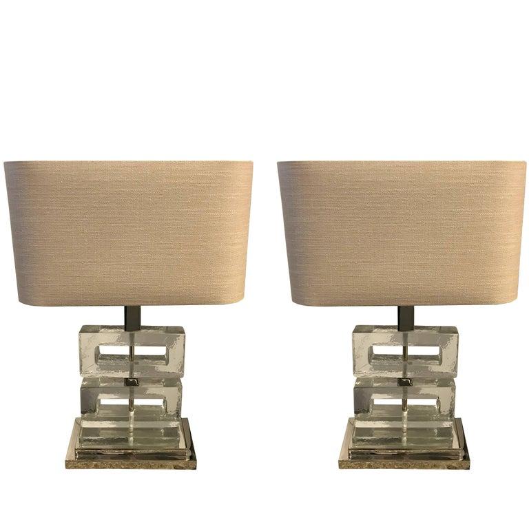 Textured Glass Pair of Lamps, Belgium, Contemporary
