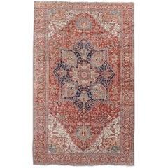 Late 19th Century Red Persian Serapi Carpet
