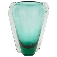 Mid-Century Modernist Emerald Green Handblown Murano Glass Vase