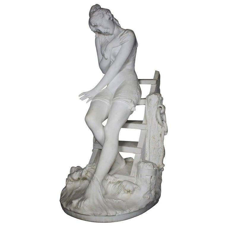 Italian 19th Century Carrara Marble Sculpture Going for a Swim by Emilio Fiaschi