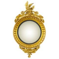 Antique English Regency Giltwood Convex Mirror, circa 1820
