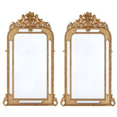 Pair of French Antique Carved Giltwood Mirrors in the Neoclassical Style