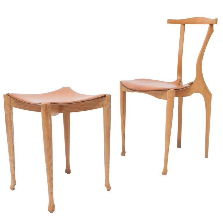 Oscar Tusquets Gaulino Oak Chair and Ottoman For Sale