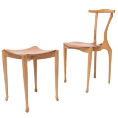 Oscar Tusquets Gaulino Oak Chair and Ottoman