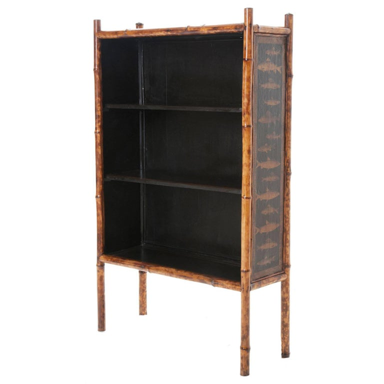English 19th Century Painted and Découpage Fish Bamboo Bookcase
