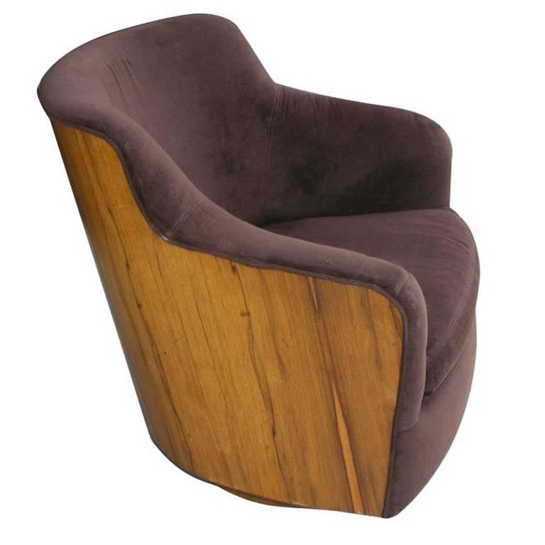 Vintage Mid-Century Barrel Swivel Lounge Chair by Milo Baughman Thayer Coggin 1