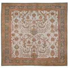 Antique Oversize Square Oushak Rug