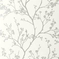 Schumacher Twiggy Floral Botanical Silver Wallpaper Two Roll Set
