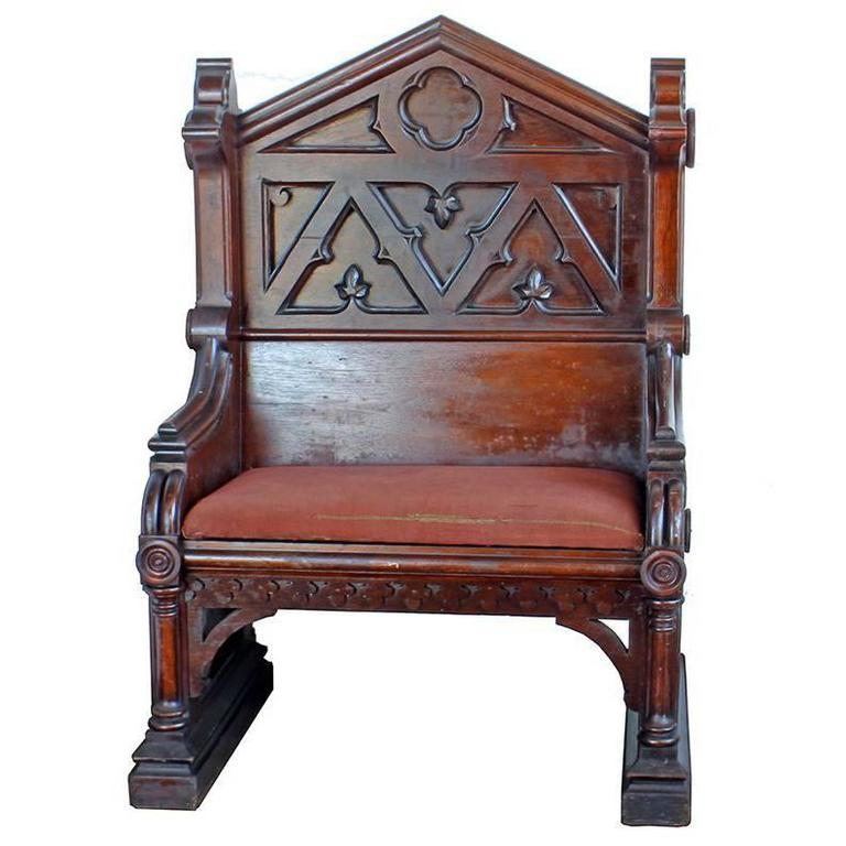 Gothic Deacon's Bench For Sale