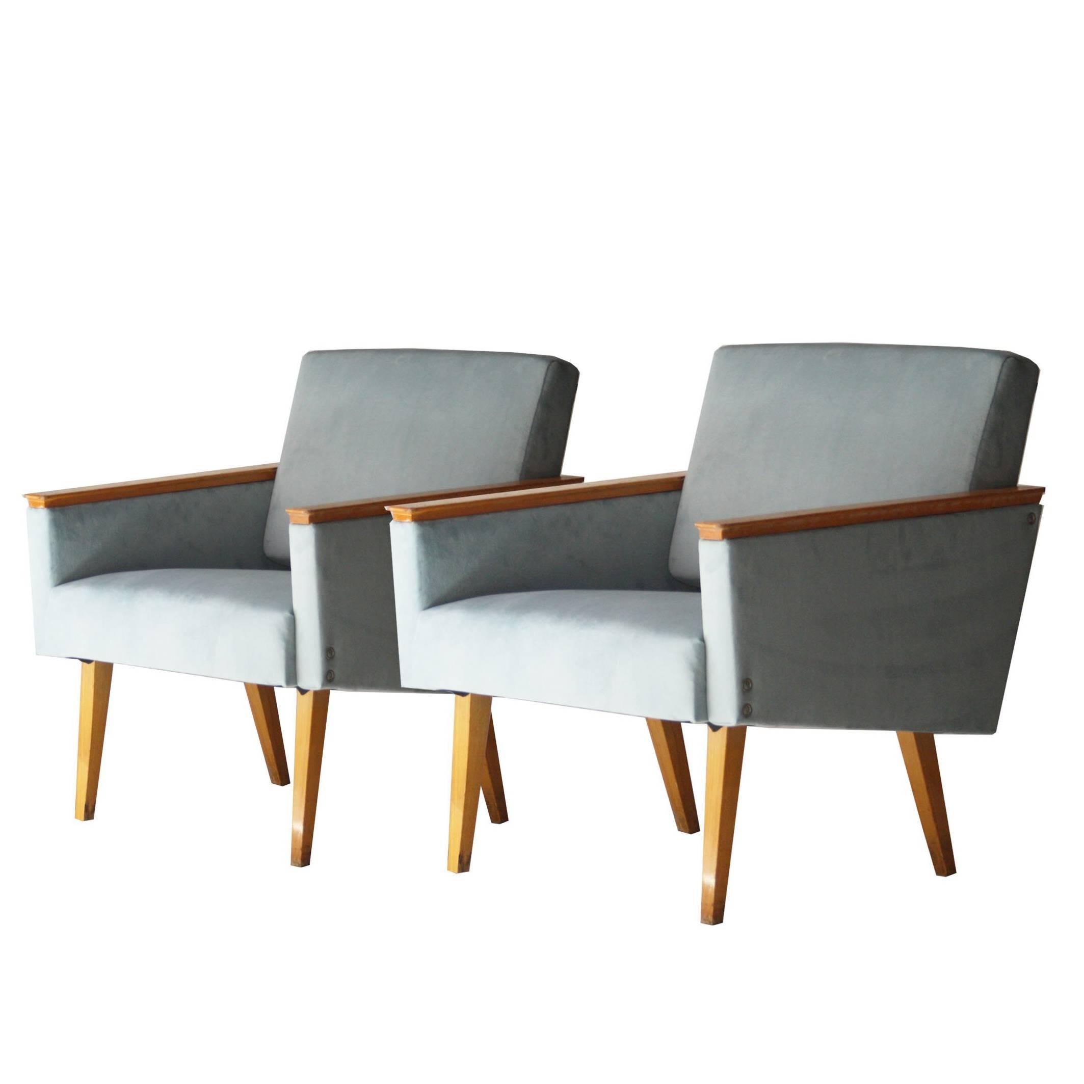 Genial Pair Of Armchairs With Velvet Upholstery. Czechoslovakia, 1960.