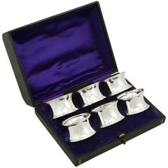 1919 Antique Sterling Silver Numbered Napkin Rings Set of Six