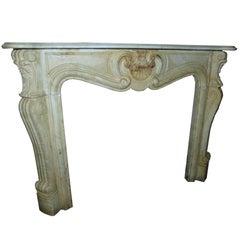 Antique Bianco Carrara Marble Fireplace