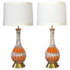 Pair of Mid-Century Bottle-Form Luster-Glazed Ceramic Lamps with Ribbed Body