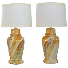 Classic Pair of Mid-Century Asian Style Ginger Jar Lamps in a Rich Luster Glaze