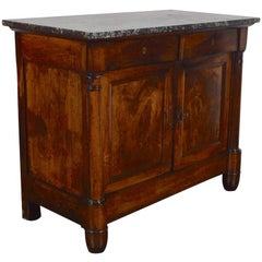 French Walnut Louis Philippe Server, Marble Top