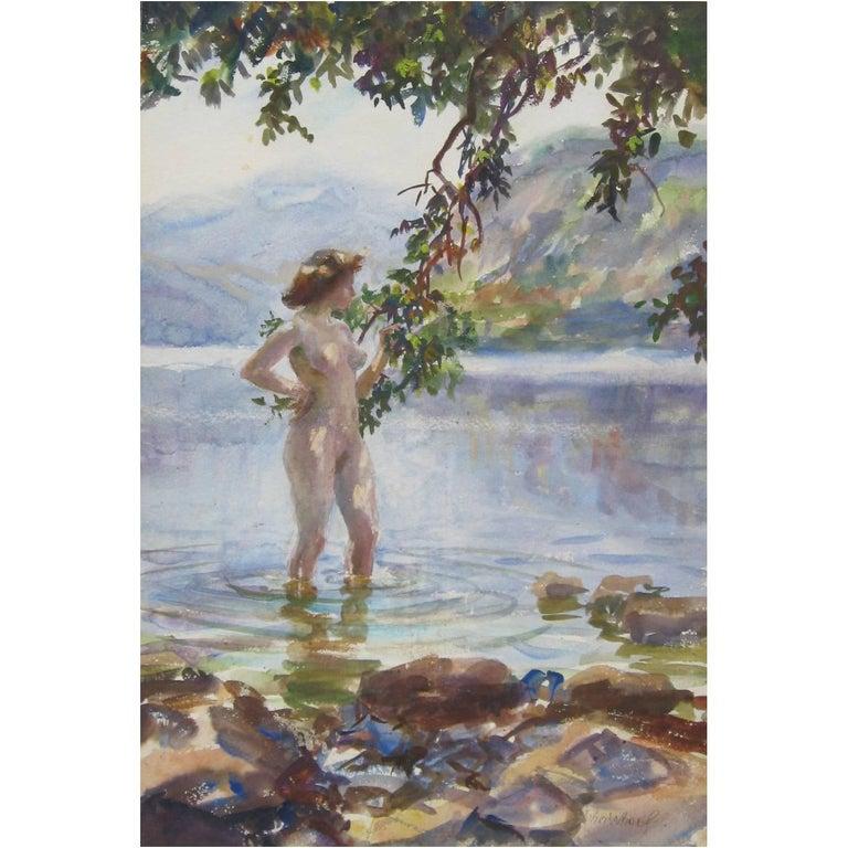 John Whorf Watercolor - Nude, Mountain Pool