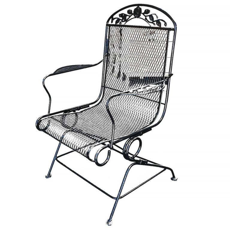 woodard wrought iron high back gliding lounge chair at 1stdibs. Black Bedroom Furniture Sets. Home Design Ideas