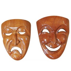 Jose Pinal Hand-Carved Tragedy and Comedy Drama Mask Set