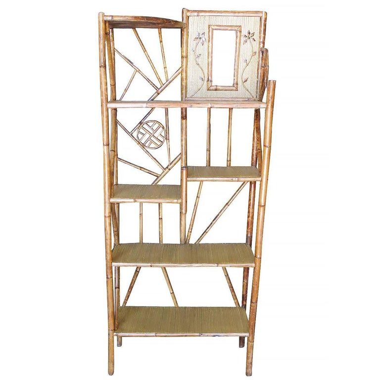 Restored Bamboo Six Tier Hallway Shelf With Vanity Mirror For Sale