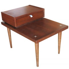 Pair of American of Martinsville Walnut End Tables in the George Nelson Manner