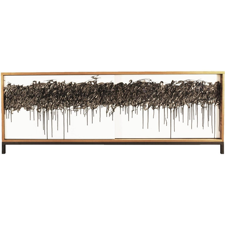 'The Finage' Cabinet by Morgan Clayhall, Walnut, Steel and Original Art Work