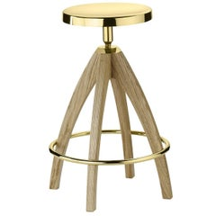 Tall Stool in Light Durmast Oak Wood