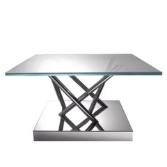 Low Dining Table in Steel and Glass