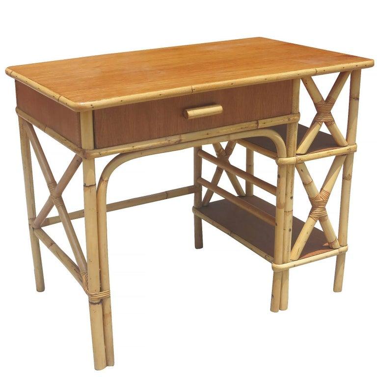 Restored Rattan and Mahogany Secretary Desk with Side Shelf