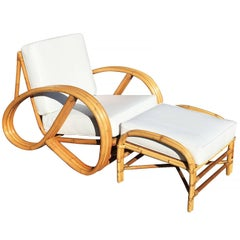 Restored 3/4 Pretzel Rattan Lounge Chair and Ottoman