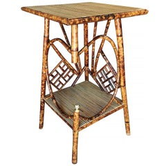 Restored Aesthetic Movement Tiger Bamboo Pedestal Side Table