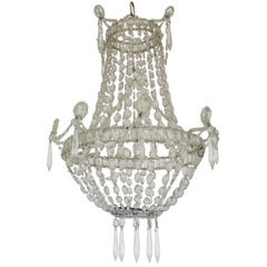 19th Century Neoclassical Crystal Basket Chandelier