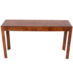 Clean Lined Italian Olive Burl Wood Console Table or Desk